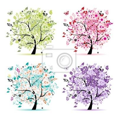 Naklejka Zestaw kwiatowy drzew piękne projekt