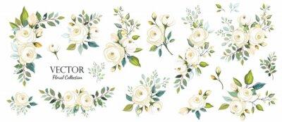 Naklejka Zestaw kwiatowy oddziału. Kwiat białej róży, zielone liście. Koncepcja ślubna. Kwiatowy plakat, zapraszam. Wektorowi przygotowania dla kartka z pozdrowieniami lub zaproszenia projekta tła