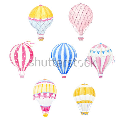 Naklejka Zestaw ładny balon akwarela. wydruk aerostat