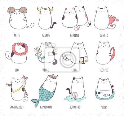 Naklejka Zestaw ładny kot kreskówka zodiaku. Ilustracji wektorowych z dwunastu symboli zodiaku: Baran, Byk, Bliźnięta, Rak, Lew, Panna, Waga, Skorpion, Strzelec, Koziorożec, Wodnik, Ryby