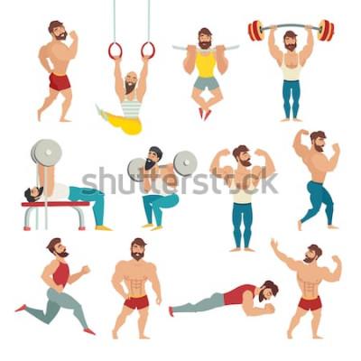 Naklejka Zestaw mięśni, brodaty mans ilustracji wektorowych. Modele fitness, pozowanie, kulturystyka. Sportowcy na siłowni. Gimnastyka pierścionki, biegać. Odosobniony wektor, biały tło