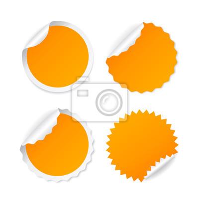 f814742b71ec51 Puste okrągłe naklejki. Zielona naklejka. Zestaw naklejki pomarańczowy okrągły  wektor