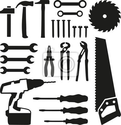 Zestaw narzędzi - piły, klucz, śrubokręt, gwoździe, śruby, wiertarki