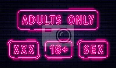 Naklejka Zestaw neonów, tylko dla dorosłych, 18 plus, seks i xxx.