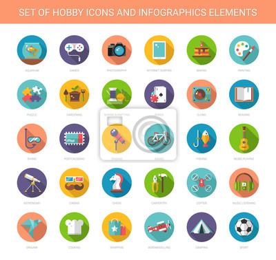 Naklejka Zestaw nowoczesnych płaska hobby ikon i elementów infografiki