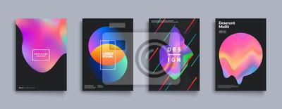 Naklejka Zestaw okładek cieczy kolorowych. Skład cieczy kształtu. Futurystyczne plakaty projektu. Wektor Eps10.