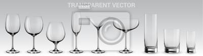Naklejka Zestaw okularów wektorowych. Zestaw przezroczystych okularów wektorowych na wino, martini, szampana i inne