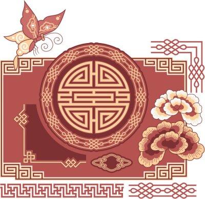 Naklejka Zestaw orientalnych - Chiński - Design Elements