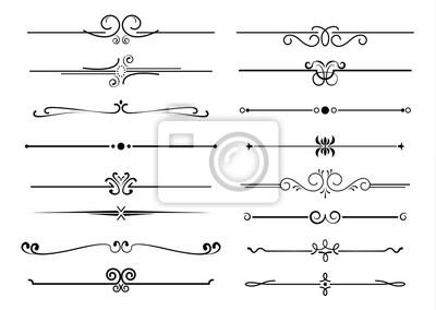 Naklejka Zestaw ozdobnych filigranowych ozdobników i cienkich przekładek