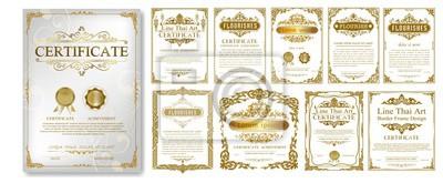 Naklejka Zestaw ozdobnych zabytkowych ramek i granic zestaw, złota ramka na zdjęcia z rogu Tajlandii linii kwiatowy na obraz, wektor wzór dekoracji stylu stylu. wzór granicy to wzór stylu tajskiej sztuki