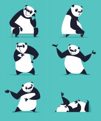 Naklejka Zestaw Panda w różnych pozach. Siedząc, sny, myśli, pokazując, kłamstwa, zachęcający, obracając. Każda Panda jest w osobnej warstwie.