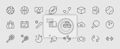 Naklejka Zestaw piłek sportowych, hobby, wektor linii rozrywki. Zawiera symbole piłki nożnej, koszykówki, kręgle, tenisa i wiele innych. Ruch edytowalny. 32 x 32 piksele.