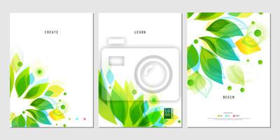 Naklejka Zestaw plakatów biznesowych z abstrakcyjnym liści