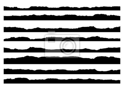 Naklejka Zestaw pociągnięć pędzla grunge. Krawędzie malowania, obramowania atramentu. Czarny pędzel, ręcznie rysowane krawędzie tło wzór. szablon projektu wektor.