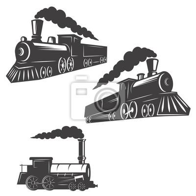 Zestaw pociągów ikony samodzielnie na białym tle. element projektu