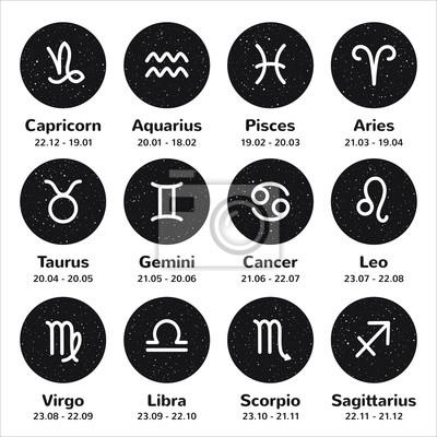 Naklejka Zestaw prostych znaków zodiaku obrysu z nazwami i datami. Nocne niebo z gwiazdami, koło kształt okrągły kosmiczne tła. Czarno-białe ręcznie rysowane spray, flecks, drobinki tekstury.