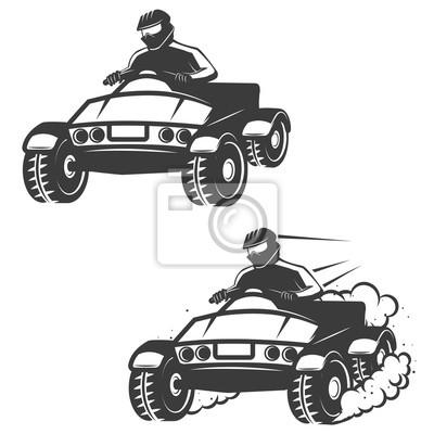 Zestaw quad z ikonami kierowcy na białym tle.