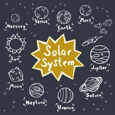 Naklejka Zestaw ręcznie rysowane doodle planet układu słonecznego