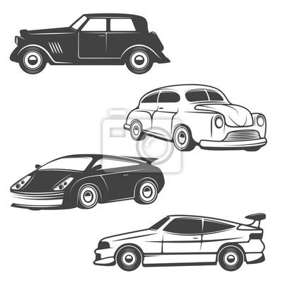 Zestaw retro samochodów ikony samodzielnie na białym tle.
