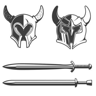 Zestaw Rogatego hełmów i mieczy samodzielnie na białym backgrou