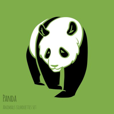 Naklejka Zestaw sylwetki wektor Panda