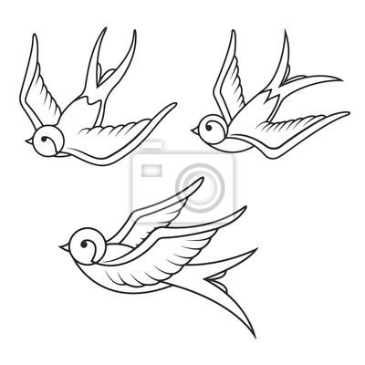 Zestaw szablonów jaskółka tatuaż na białym tle. bi