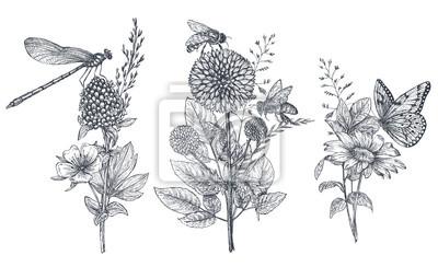 Naklejka Zestaw trzech wektor bukiety kwiatowe z czarno-białych ręcznie rysowane zioła, kwiaty i owady