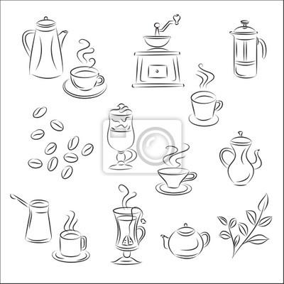 Naklejka zestaw vector szkice kawa i herbata na wymiar - Maquina de pintar electrica ...