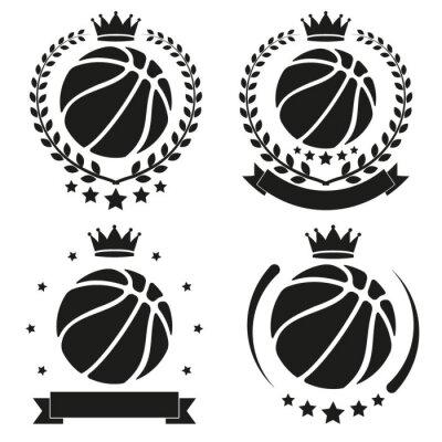 Naklejka Zestaw Vintage Odznaka Koszykówki Klubu i etykiety