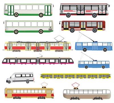 Naklejka Zestaw wektora transportu publicznego