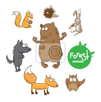 Naklejka Zestaw z cute cartoon leśnych zwierząt, niedźwiedź, wilk, lis, zając, wiewiórka, jeż, sowa.