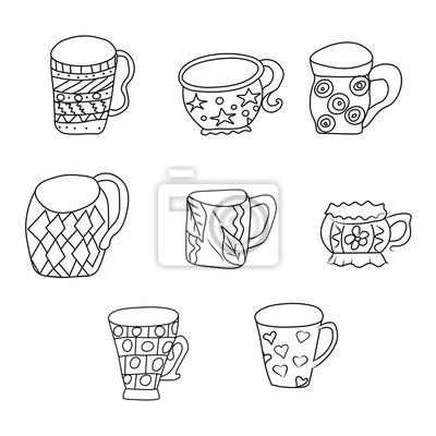 Naklejka Zestaw z filiżanek i kubków. Ręcznie rysowane zentangle. Wektor ilustracji eps 10 dla swojego projektu. Czarno-białe tło.