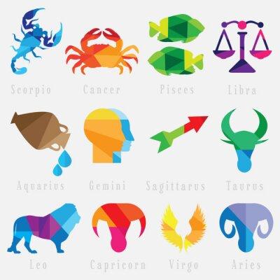 Naklejka zestaw znaków zodiaku horoskop