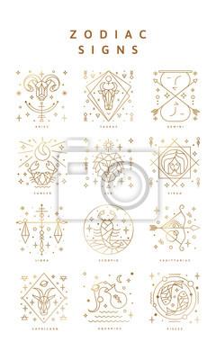 Naklejka Zestaw znaków zodiaku, ikony i symbole. Horoscrope znaki w wektorze