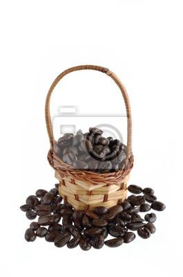 Ziarna kawy i kosz