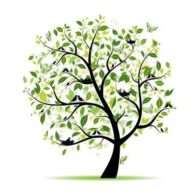 Naklejka Zielone drzewo wiosna z ptakami dla projektu