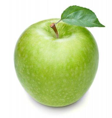 Naklejka Zielone jabłko z liści samodzielnie na białym tle