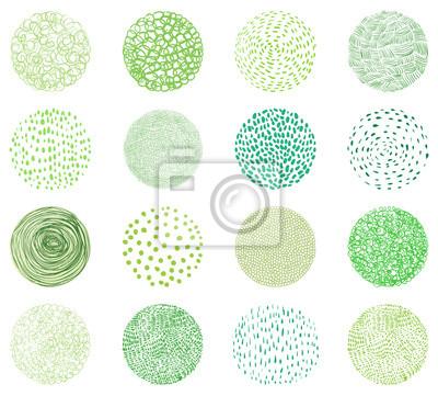 Naklejka Zielone naturalne tekstury w okrągłych kształtach. Doodle koła do projektowania opakowań dla produktów naturalnych