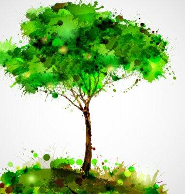 Naklejka Zielony abstrakcyjna drzewa tworząc przez plamami