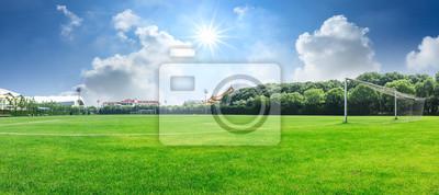 Naklejka Zielony boisko piłkarskie pod niebieskiego nieba tłem