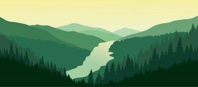 Naklejka Zielony krajobraz górski z rzeki w dolinie.
