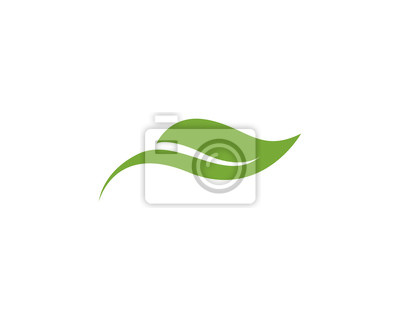 Naklejka zielony liść ekologia charakter elementu wektora ikona