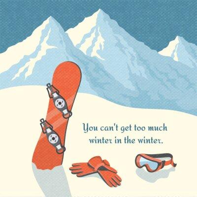 Naklejka Zimowy krajobraz górski snowboard