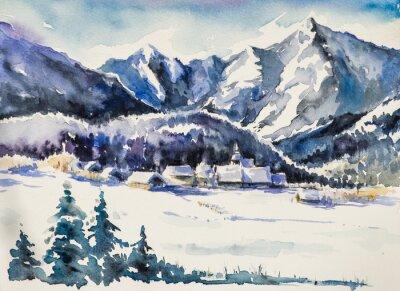 Naklejka Zimowy krajobraz - wioska pokryta snow.Watercolors.