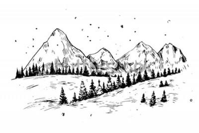 Naklejka Zimy tło z górami, śniegiem i drzewami. Ręcznie rysowane ilustracja przekonwertowana do wektora.