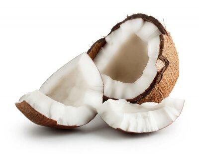 Naklejka Złamane surowy dojrzałe kokos
