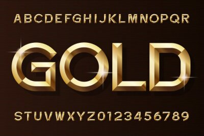 Naklejka Złota czcionka alfabetu. 3d fazowane złote litery i cyfry efektu. Wektor maszynopis do projektowania.
