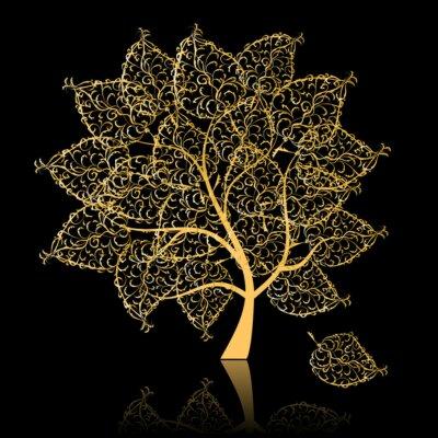 Naklejka Złote drzewo