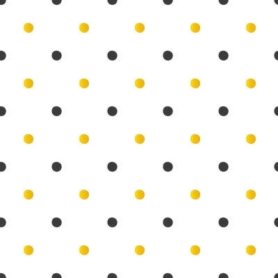 Naklejka Złote i czarne kropki bez szwu deseń tła.