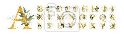 Naklejka Złote litery alfabetu kwiatowy duże litery z kwiatami pozostawia złote rozpryski